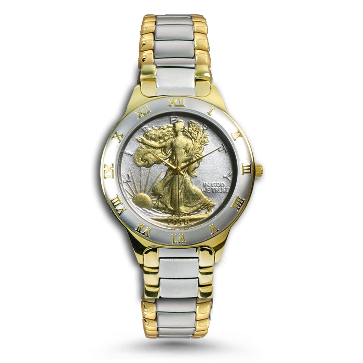 Men's Walking Liberty Half Dollar Two-Tone Watch
